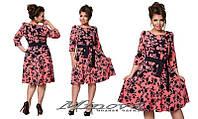 Платье женское нарядное креп-костюмка цветочный принт размеры 50,52,54,56