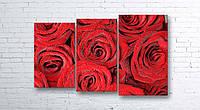 Модульная картина на холсте 3 в 1 Розы 100х160 см (секции разного размера)