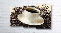 Модульная картина на холсте 3 в 1 Чашка кофе на зернах 100х160 см (секции разного размера)