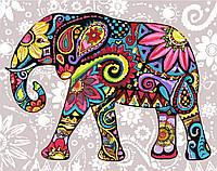 Раскрашивание по номерам без коробки Идейка Цветочный слон (KHO2449) 40 х 50 см