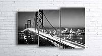 Модульная картина на холсте 3 в 1 Ночной мост 100х160 см (секции разного размера)