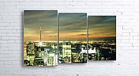 Модульная картина на холсте 3 в 1 Ночной город 100х160 см (секции разного размера)