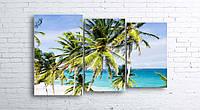 Модульная картина на холсте 3 в 1 Пальмы на пляже 100х160 см (секции разного размера)