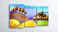 Модульная картина на холсте 3 в 1 Цветной пейзаж 100х160 см (секции разного размера)