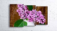 Модульная картина на холсте 3 в 1 Сирень в белой вазе 100х160 см (секции разного размера)