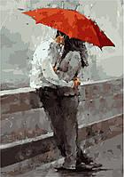 Раскрашивание по номерам без коробки Идейка Красный зонт Худ Андре Кон (KHO2647) 35 х 50 см