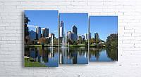 Модульная картина на холсте 3 в 1 Австралия. Королевский парк. Речка Лебедь 100х160 см (секции разного размера)