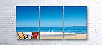 Модульная картина на холсте 3 в 1 Морской пляж 100х180 см