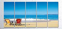 Модульная картина на холсте 5 в 1 Морской пляж 100х200 см
