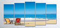 Модульная картина на холсте 5 в 1 Морской пляж 100х200 см (секции разного размера)