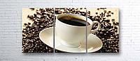 Модульная картина на холсте 3 в 1 Чашка кофе на зернах 100х180 см