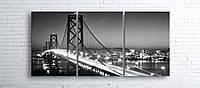 Модульная картина на холсте 3 в 1 Ночной мост 100х180 см