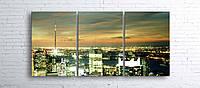 Модульная картина на холсте 3 в 1 Ночной город 100х180 см
