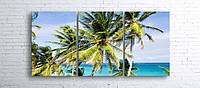 Модульная картина на холсте 3 в 1 Пальмы на пляже 100х180 см
