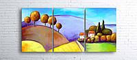 Модульная картина на холсте 3 в 1 Цветной пейзаж 100х180 см