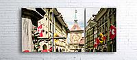 Модульная картина на холсте 3 в 1 Старый город, Берн, Швейцария 100х180 см