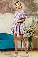 Летнее платье с цветочным принтом, размеры 42-48