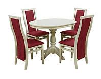 Комплект стол и стул Астон (Лак Слоновая кость) Слоновая кость D100 см