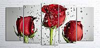 Модульная картина на холсте 5 в 1 Розы на сером 100х200 см (секции разного размера)