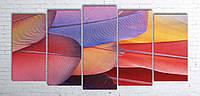 Модульная картина на холсте 5 в 1 Перья 100х200 см (секции разного размера)