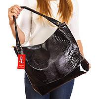 Большая черная сумка мешок лаковый крокодил