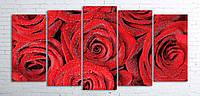 Модульная картина на холсте 5 в 1 Розы 100х200 см (секции разного размера)