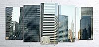 Модульная картина на холсте 5 в 1 Нью-Йорк 100х200 см (секции разного размера)