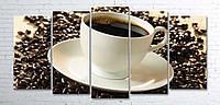 Модульная картина на холсте 5 в 1 Чашка кофе на зернах 100х200 см (секции разного размера)