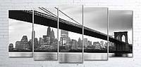 Модульная картина на холсте 5 в 1 Мост 100х200 см (секции разного размера)