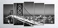 Модульная картина на холсте 5 в 1 Ночной мост 100х200 см (секции разного размера)