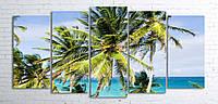Модульная картина на холсте 5 в 1 Пальмы на пляже 100х200 см (секции разного размера)