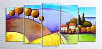 Модульная картина на холсте 5 в 1 Цветной пейзаж 100х200 см (секции разного размера)
