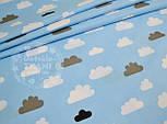 Лоскут ткани №689а с облаками серыми и белыми на голубом фоне, размер 34*80 см, фото 2