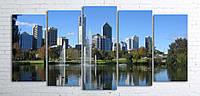 Модульная картина на холсте 5 в 1 Австралия. Королевский парк. Речка Лебедь 100х200 см (секции разного размера)