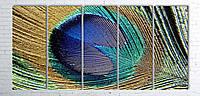 Модульная картина на холсте 5 в 1 Перо павлина 100х200 см