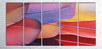Модульная картина на холсте 5 в 1 Перья 100х200 см