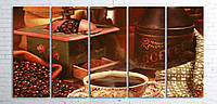 Модульная картина на холсте 5 в 1 Кофе и зерна 100х200 см