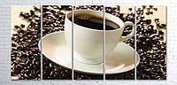 Модульная картина на холсте 5 в 1 Чашка кофе на зернах 100х200 см