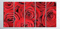 Модульная картина на холсте 5 в 1 Розы 100х200 см