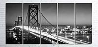 Модульная картина на холсте 5 в 1 Ночной мост 100х200 см