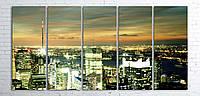 Модульная картина на холсте 5 в 1 Ночной город 100х200 см
