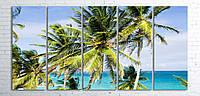 Модульная картина на холсте 5 в 1 Пальмы на пляже 100х200 см