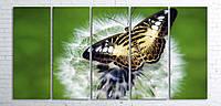 Модульная картина на холсте 5 в 1 Бабочка на одуванчике 100х200 см