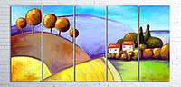 Модульная картина на холсте 5 в 1 Цветной пейзаж 100х200 см