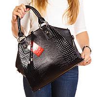 Дамская большая сумка черная трапеция в крокодиле