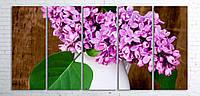 Модульная картина на холсте 5 в 1 Сирень в белой вазе 100х200 см