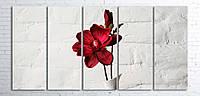 Модульная картина на холсте 5 в 1 Красный цветок в белой вазе 100х200 см