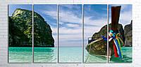 Модульная картина на холсте 5 в 1 Тайланд. Phi Phi острова 100х200 см