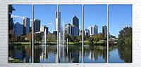 Модульная картина на холсте 5 в 1 Австралия. Королевский парк. Речка Лебедь 100х200 см