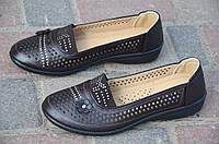 Мокасины, туфли женские летние темно коричневые легкие 2017. Со скидкой
